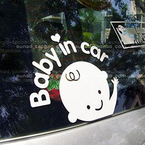 Ouneed® Baby in car Auto Stickers (Blanc)