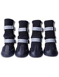 PIXNOR 4 Piezas Impermeable Botas Botines Zapatos de Perro - Tamaño L (Negro)