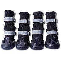 UEETEK 4pcs impermeable Botas para mascotas Zapatos de mascotas perro Protector de la pata para los perros de tamaño medio a grande - tamaño XL (negro)