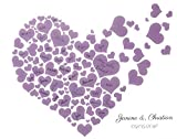 KATINGA Personalisierte Leinwand Herzen LILA zur Hochzeit - ALS Gästebuch für Unterschriften (40x50cm, inkl. Stift) (Herz lila)
