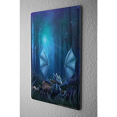 Cartello Targa In Metallo Poster Bambino Drago Foresta guscio d'uovo Sogno Del Mondo Decorazione 20X30 cm