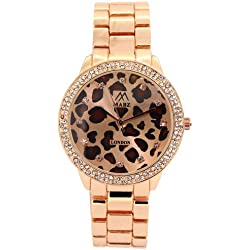 Mabz London Ladies / Womens Leopard Print Rose Gold Dial & Rose Gold Bracelet Watch