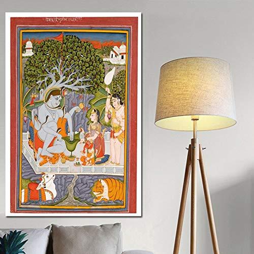 Indische Leinwand Kunst (alicefen Shiva Parvati Und Ihre Familie Leinwand Kunst Indische Gott Figur Malerei Religiöse Poster Und Drucke Wandbilder Für Wohnzimmer kein Rahmen 50X70 cm)