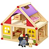 Wooden Doll House With Furniture & Figures