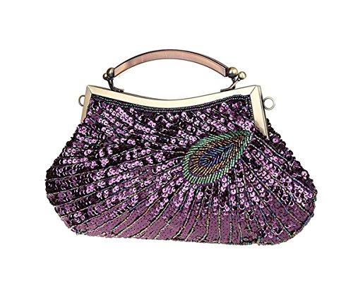KAXIDY Damentasche Tasche Unterarmtasche Perlen Pailletten Handtasche Abendtasche Für Party Hochzeit Lila