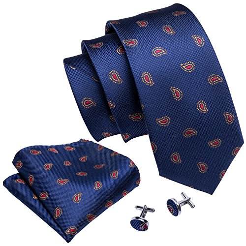 Barry.Wang Blue and Red Tie Set Woven Paisley Handkerchief Cufflinks Blue Woven Tie