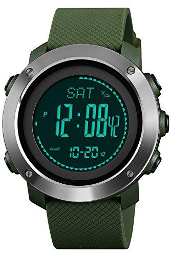 Reloj de Pulsera Digital para Hombre, Alarma, barómetro, brújula, Relojes electrónicos, podómetro...