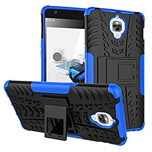 Casodon Kick Stand Cover Hard with Stand Back Cover for OnePlus 3 (Blue)