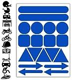Reflektoren Aufkleber Blau Stickers Set (19 Stück) Selbstklebende Reflektierende Reflektor...