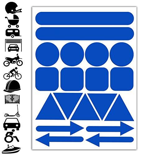 Reflektoren Aufkleber Blau Stickers Set (19 Stück) Selbstklebende Reflektierende Reflektor Aufkleber Sicherheitsaufkleber für Fahrrad, Kinderwagen, Helm, Auto, Moto,...