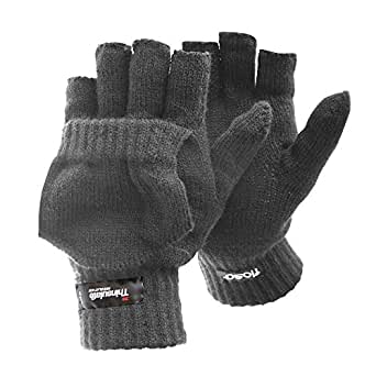 FLOSO® Mens Thinsulate Capped Fingerless Thermal Gloves (3M 40g) (M/L) (Grey)
