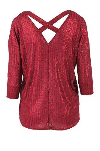 Mesdames Croix Retour Foil surdimensionnées tricotée Top EUR Taille 36-42 Du vin