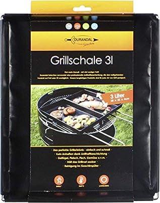 Durandal Selection Grillschale für 1,5L - 3L   Wiederverwendbare Auflaufform für Elektrogrill, Camping Grill & Holzkohlegrills mit Antihaftbeschichtung   Grill Zubehör
