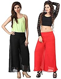 Mango People Products Indian Ethnic Rayon Designer Plain Casual Wear Palazzo Pant For Women's (Black And Peach...