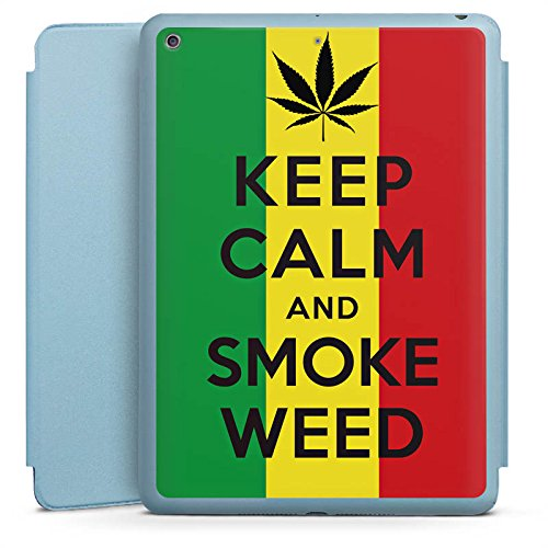 Apple iPad 5 Smart Case hellblau Hülle Tasche mit Ständer Smart Cover Keep Calm and Smoke Weed Phrases Sayings (Weed Smoke Immer)