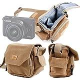 DURAGADGET Bolso / Canvas Para Cámara EVIL Canon EOS M10 | Panasonic Lumix GX7 | Nikon 1 J5 | Sony NEX-3NLB | Olympus Pen E-PL6 | Sony Alpha A6300 - Marrón