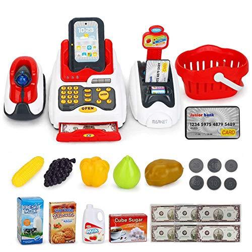Hamkaw Contatore di Giocattoli Giocattoli per Bambini Supermercato Registratore di Cassa e Scanner Kit 24pcs con calcolatrice Elettronica, Scanner, valuta e Cibo