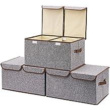 Caja de cartón decorada. EZOWare Caja de Almacenaje x 3 Sets Almacenaje Juguetes, Caja para Ropa