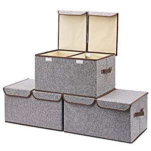 3 pack aufbewahrungsbox mit deckel ezoware cube aufbewahrungskorb ordnungsystem sauraum boxen. Black Bedroom Furniture Sets. Home Design Ideas