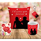 Style I Love You Forever Printed Cushion Cover 12x12 With Filler, Ceramic Mug 350 Ml, Greeting Card And Key Ring (set Of 4)