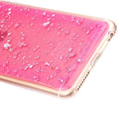 iPhone 6 6S Coque Housse Etui, iPhone 6 Rose Coque en Silcone Clair Ultra-Mince Etui Housse avec Glitter Diamant, iPhone 6S Silicone Coque Pink Slim Transparent Soft TPU Bumper Case with Bling Diamond Glitter-Pourpre