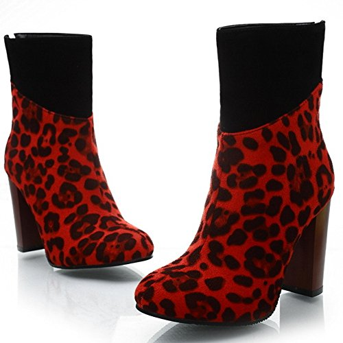 TAOFFEN Damen Western Blockabsatz Reißverschluss Print Leopard Kurze Stiefel Rot