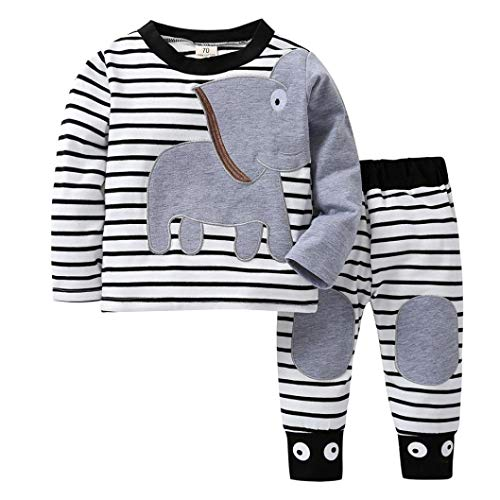 Kinder Unisex Baby 2 Stück Bekleidungsset Herbst,Yanhoo Neugeborenes Baby Jungen Mädchen Elefanten Gestreift Print T-Shirt Tops Set Casaul Kleidung