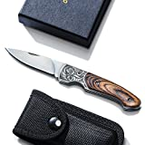 T02 Klappmesser Edelstahl Taschenmesser, Gürtelmesser mit Holzgriff und Gürtel-Nylonhülle, Klingelänge 6,5cm, ideal für Outdoor und Indoor