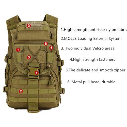 Taktischer Rucksack / Military Rucksack / Molle Rucksack / Assault Pack / Bug Out Tasche für Jagd Schießen Camping Wandern Reisen Schule Khaki
