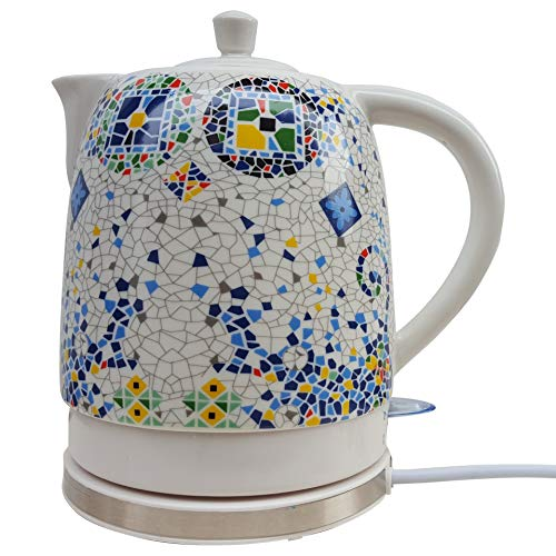 SONGYANG Wasserkocher Elektrische Keramik Weißer Wasserkocher Teekanne-Retro Automatische Abschaltung Ruhiges schnelles Kochen für Tee, Kaffee, Suppe 1.8L 1400W (Tee-und Wasserkocher Ruhigen)