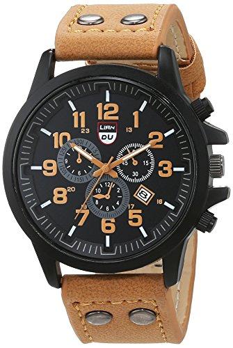 Schöne Uhren, Herren-Luxus-Uhren Liandu Artmarke Sportuhren 2015 Quarzuhr beiläufige Männer militärische wasserdichte Leder-Uhr ( Farbe : Kaffee , Großauswahl : Einheitsgröße )