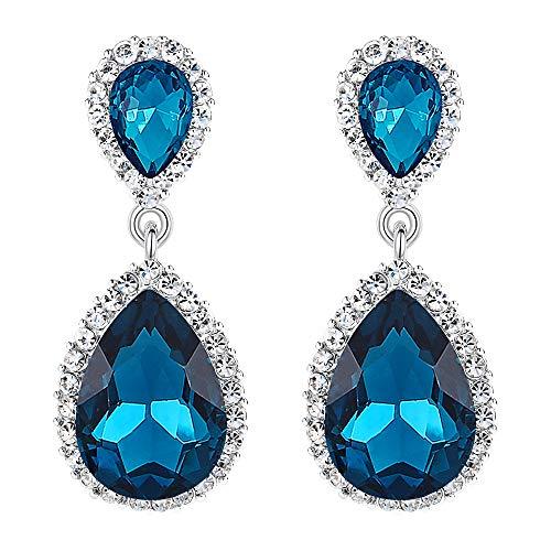 rreichischen Kristall Hochzeit elegante 2 Teardrop Halo Ohrringe Sapphire Farbe Silber-Ton ()