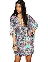 Antemi - Femmes - Tunique de plage à imprimé et manches amples - Bleu