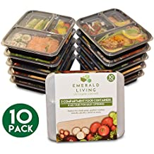 3 Compartment BPA Free Meal Prep Containers. Reusable Plastic Food Containers with Lids. Stackable, Microwavable, Freezer & Dishwasher Safe Bento Lunch Box Set + EBook [1L] (10 Pack)