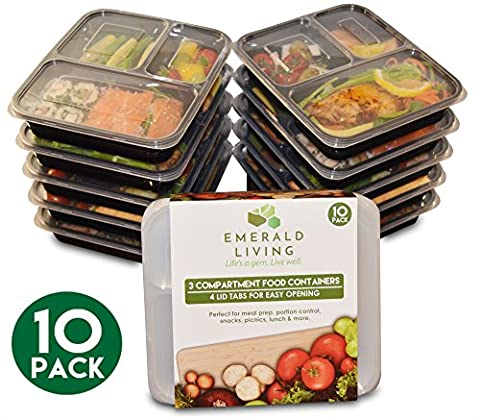[10 pack] 3 Compartment BPA Free Meal Prep Containers. Reusable Plastic Food Containers with Lids. Stackable, Microwavable, Freezer & Dishwasher Safe Bento Lunch Box Set + EBook [1L]