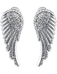 Sanwood Damen-Ohrringe vergoldet Engel Flügel Kristall Schmuck