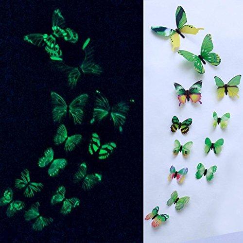 TAOtTAO 12pcs leuchtender Schmetterlings-Entwurfs-Abziehbild-Kunst-Wand-Aufkleber-Raum-magnetische Hauptdekor (Grün)