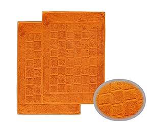 2 x Frottee Duschvorleger Badvorleger 50x70 cm Badematte 700g/m² Farbe Orange