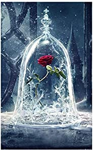 Shayee DIY 5D Diamond Painting Kit, Roses in Glass Dome Rhinestone Embroidery Cross Stitch Arts Craft Canvas f
