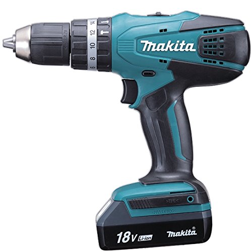 Makita HP457DWE  Perceuse visseuse à percussion + 2 batteries 18V 1,5 Ah Li-ion + coffret de...