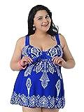AOZY Damen Badeanzug Tankini Große Größen Zweiteiliger Bademode Badeanzug mit Röckchen Badekleid mit Shorts (Königsblau, EU60/Etikett 10XL)