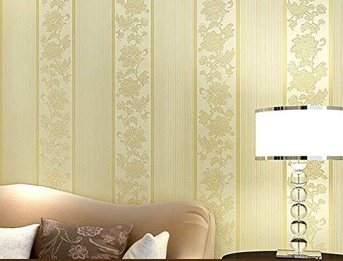 Braun Floral Top (KYKDY KYKDY-Top Qualität Luxus Floral Streifen Tapete Rolle Für Wohnzimmer Schlafzimmer papel de parede rolle wandbild tapete Dekoration, Braun)