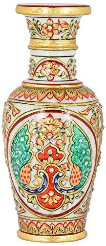 Saudeep India Trading Corporation Marble Flower Pot With Jali Cut (SIFPPCOG14, 15...
