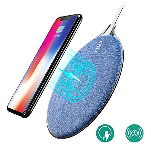 Fast Wireless Charger, Auckly Qi Ladegerät, kabelloses Induktive Ladestation Schnellladestation für Samsung Galaxy Note 8/S8/S8 Plus/S7/S7 Edge, iPhone X/8/8 Plus und alle Qi Fähige Geräte (Denim)
