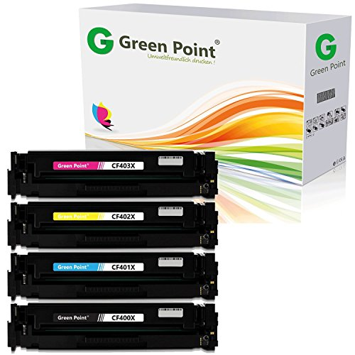 Greenpoint 4 Toner Kompatibel zu HP 201X CF400X CF401X CF402X CF403X Color LaserJet Pro 200 M252dw M277dw M277n M274n Multifunktionsdrucker -