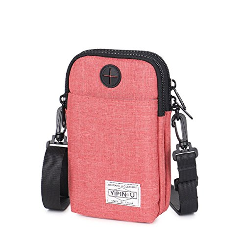 Galaxy Canvas Schulter Tasche (Handy Umhängetasche, JOSEKO Canvas Universal Handytasche zum Umhängen Geldbörse Kleine Tasche Mini Crossbody Tasche für Damen Frauen Mädchen Kinder iPhone 6 Plus 7 Plus Galaxy Note 5 4 S7 Edge Rot)