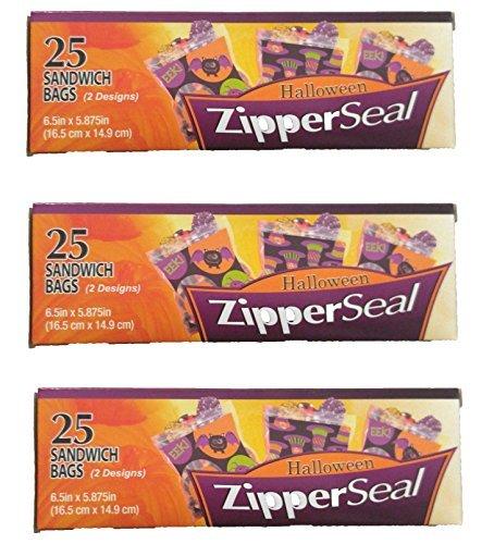 Set von 3Kisten Halloween Reißverschluss Seal Sandwich Taschen 75CT Gesamt 6.5
