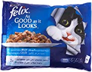 طعام القطط الرطب از جود از ات لوكس من فليكس من سمك السلمون والتونة، وزن 100غرام، عبوة من 4 قطع