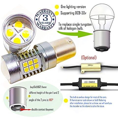 Wiseshine 6000k bay15d 1157 led ampoule DC9-30v 3 ans d'assurance de la qualité (paquet de 2) bay15d 22smd 3030 blanc pur