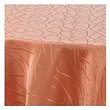 TEXMAXX Damast Tischdecke Maßanfertigung im Streifen-Design mit Saum - 150 cm Rund in Terrakotta, weitere Farben und Größen sind wählbar